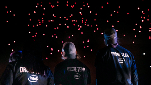 To celebrate its 50th anniversary, Intel Corporation flies 2,018 Intel Shooting Star drones over its Folsom, California, facility, in July 2018. The drone light show set a Guinness World Records title for the most unmanned aerial vehicles airborne simultaneously. (Credit: Intel Corporation)