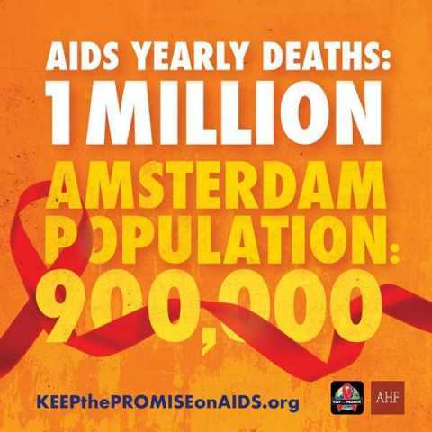 AHF posted this advocacy ad throughout @IAmsterdam and at @Schiphol Airport ahead of @AIDS_conference: do you think this ad is provocative? (Graphic: Business Wire)