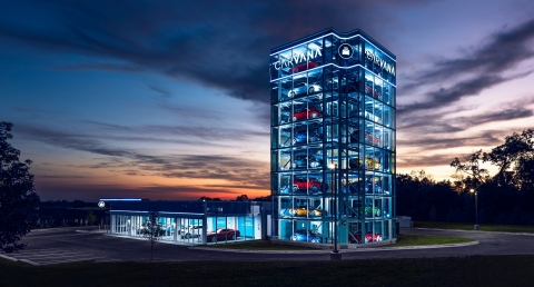 Carvana has launched its 13th Car Vending Machine, located in Cleveland. This is the first Car Vending Machine in the Buckeye State and stands eight stories high, holding up to 30 vehicles. (Photo: Business Wire)