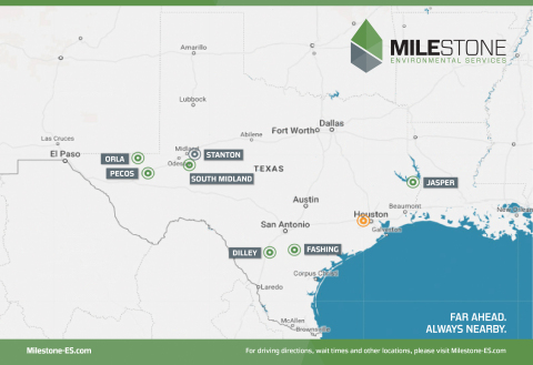 Milestone facilities are located in the Permian Basin, Eagle Ford Shale and Haynesville Shale. (Photo: Business Wire)