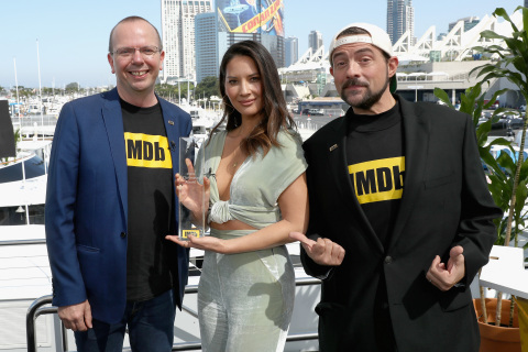 "IMDb, the world's most popular and authoritative source for movie, TV and celebrity content, today presented the IMDb ""Fan Favorite"" STARmeter Award to Olivia Munn on the IMDboat at Comic-Con International: San Diego 2018. IMDb STARmeter Awards recognize entertainment industry luminaries who are fan favorites on the IMDbPro STARmeter chart. (Photo: Business Wire)"