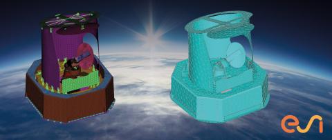 Modèles de simulation vibro-acoustiques FEM et BEM d'une charge utile de satellite pour des applications spatiales avec ESI VA One. (Graphic: ESI/ Space Structures)