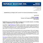 Republic Bancorp, Inc. Reports a 56% Year-Over-Year Increase in Second Quarter Net Income