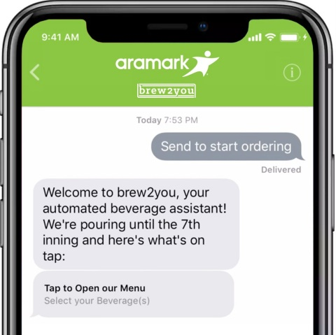 The Philadelphia Phillies and Aramark announced fans in designated sections of Citizens Bank Park will be able to use Apple Business Chat to place orders using their iPhone's Messages app, to have the menu items delivered directly to their seats, as part of a ground-breaking pilot program. (Graphic: Business Wire)