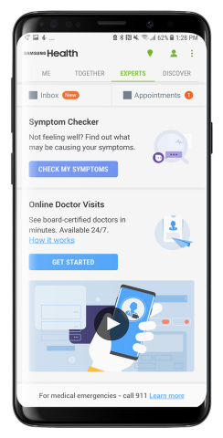 Samsung Health is making online doctor visits possible through LiveHealth Online. (Photo: Business Wire)