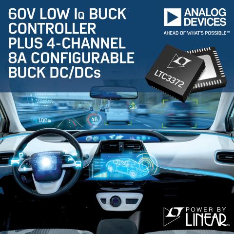 60V Low IQ Buck Controller Plus 4-Channel 8A Configurable Buck DC/DCs (Photo: Business Wire)