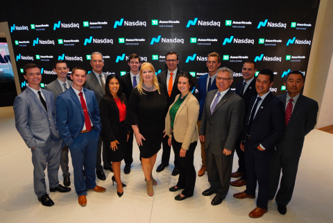 Kate Healy, managing director, Generation Next for TD Ameritrade Institutional (center), and the 2018 TD Ameritrade Institutional NextGen RIA Scholarship & Grant winners (Photo: Christopher Galluzzo)