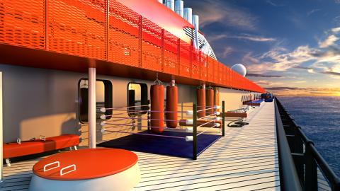 健康的なエクササイズと汗を流した後の楽しい時間の両方を提供するクルーズ船「スカーレット・レディー」。屋外トレーニング・ゾーンを中心とする「ジ・アトランティック・クラブ」などが設けられます。(写真:ビジネスワイヤ)