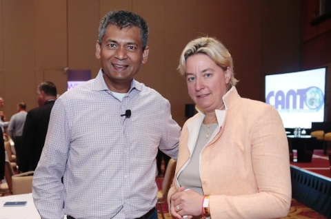 Liberty Latin America CEO Balan Nair with Cable & Wireless CEO Inge Smidts at #CANTO2018 Conference and Trade Exhibition in Panama City on July 23, 2018 (Photo: Business Wire)