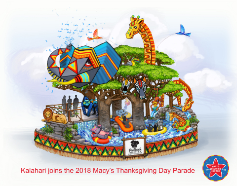 Kalahari Resorts and Conventions is set to make a splash in the 92nd Annual Macy's Thanksgiving Day Parade this November. Home to America's Largest Indoor Waterparks, Kalahari Resorts and Conventions will debut a new larger-than-life float that will take millions of spectators on a journey to Africa this Thanksgiving. For more information, visit: www.KalahariResorts.com (Graphic: Business Wire)