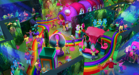 A rendering of DreamWorks Trolls The Experience opening November 15, 2018, in the heart of New York  ...