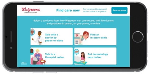 Find Care Now enhances the Walgreens website and mobile app, which has been downloaded more than 50 million times and has 5 million active users each month. (Photo: Business Wire)