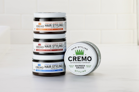 """The new CREMO """"Premium Barber Grade"""" hair care collection takes the guesswork out of finding the perfect hair product for men. Now available in Shine Pomade, Styling Cream, Matte Cream, and Thickening Paste, and approved by top barbers across the country. (Photo: Business Wire)"""