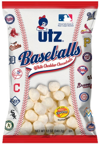 "Utz White Cheddar Cheeseballs ""Baseballs"" - Front of bag (Source: Utz Quality Foods)"
