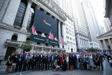 Endava employees gathered at the New York Stock Exchange to celebrate Endava opening for trading und ...
