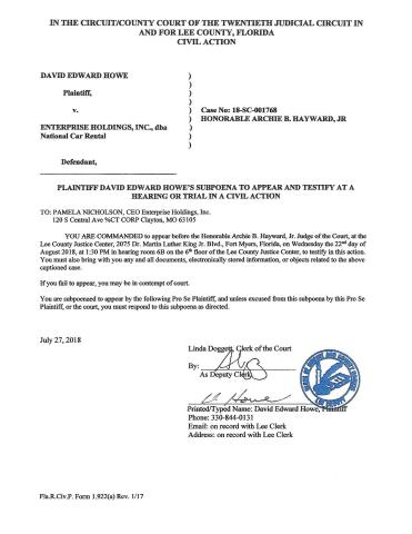 Pamela M. Nicholson CEO for Enterprise Holdings commanded to appear and testify in felony grand thef ...