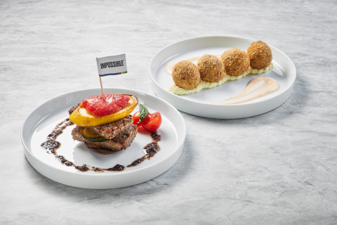 The Chipotle Croquettes and Vegetable Millefeuille, featuring Impossible meat, at The Apron Oyster Bar & Grill. (Photo: Business Wire)