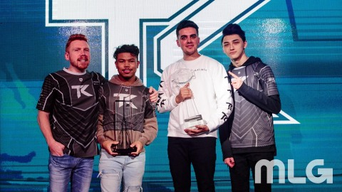 "Team Kaliber: Ian ""Enable"" Wyatt, CWL Pro League Stage 2 MVP Kenny ""Kenny"" Williams, Lamar ""Accuracy"" Abedi, and Maurice ""Fero"" Henriquez (Photo: Business Wire)"