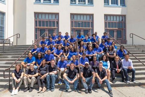 A photo shows all 37 interns from Oakland Technical and McClymonds high schools, Intel Education Service Corp. team trainers, and Intel and Oakland Unified School District Education Fund Program Managers. On completion of their six-week paid internships, 37 interns from Oakland Technical and McClymonds high schools presented projects, many incorporating Intel Corporation technology, to their families, schools and communities during a presentation in Oakland, Calif., on Thursday, July 26, 2018. (Credit: Intel Corporation)