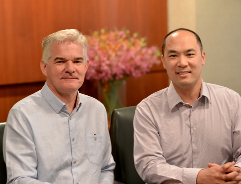 Marcus Meadows-Smith, CEO BioConsortia, Inc. and newly named Board Director, Crop Enhancement Inc. (Left) with Dr. Kevin Chen, CEO, Crop Enhancement Inc. (Right). (Photo: Business Wire)