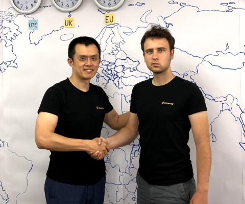 Changpeng Zhao, CEO of Binance, with Viktor Radchenko, Founder of Trust Wallet (Photo: Business Wire)