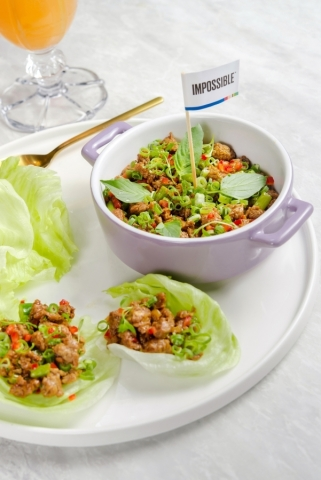 Thai Lettuce Wraps, made with Impossible meat, at CHA BEI. (Photo: Business Wire)