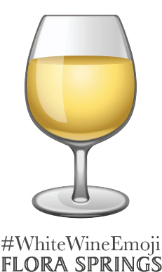Flora Springs Winery created this button encouraging white wine lovers to support its White Wine Emoji campaign. (Graphic: Business Wire)