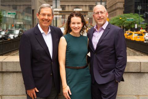 Ralph Katz, Anne Green and Luke Lambert celebrate G&S Business Communications acquisition of CooperKatz & Company. (Photo: Business Wire)