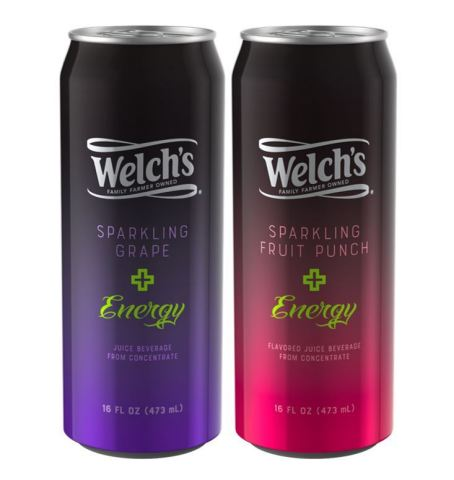 Welch's Sparkling Plus Energy is available in two bold flavors, Sparkling Grape and Sparkling Fruit Punch, with a suggested retail price of $2.19 for a 16 oz. can. (Photo: Business Wire)