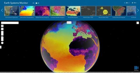 Ứng dụng Màn hình Hệ thống Trái đất, được cung cấp bởi dữ liệu Living Atlas, hiển thị Nhiệt độ Bề mặt Biển.  (Đồ thị ...