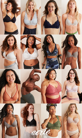 Cast of Aerie Bras Make You Feel Real Good Campaign (Credit: Andrew Buda + Alex Albeck)