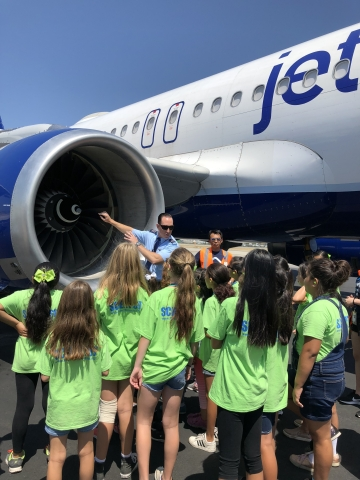 The JetBlue Foundation hosted more than 60 Project Scientist campers at Long Beach Airport in Southern California. Students received an overview of the various career options available within an airline. (Photo: Business Wire)
