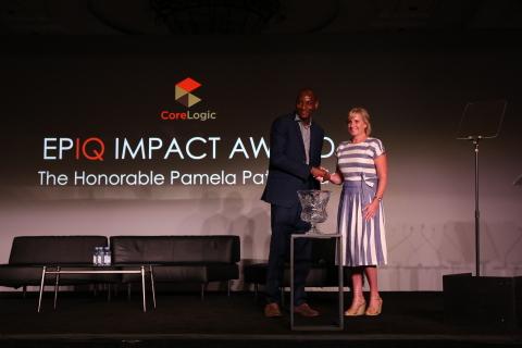 The Honorable Pamela Hughes Patenaude with CoreLogic Managing Director, Property Intelligence & Risk Management Olumide Soroye (Photo: Business Wire)