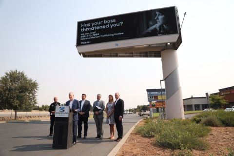Sacramento Mayor Steinberg launches anti-human trafficking campaign in partnership with Clear Channel Outdoor and Polaris today. (Photo: Business Wire)
