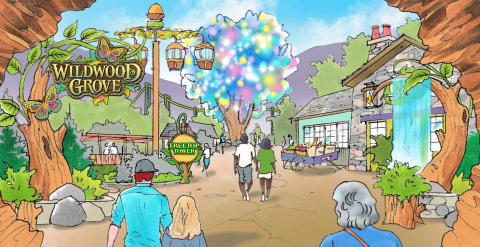 Guests to Dollywood's Wildwood Grove enter in to a captivating land of fun and exploration. The Wildwood Tree highlights the experience for visitors thanks to a spectacular kaleidoscope of color. (Graphic: Business Wire)