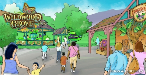 These friendly frogs hop up and down as they chase each other around the lily pad in this ride coming to Dollywood's new Wildwood Grove. (Graphic: Business Wire)