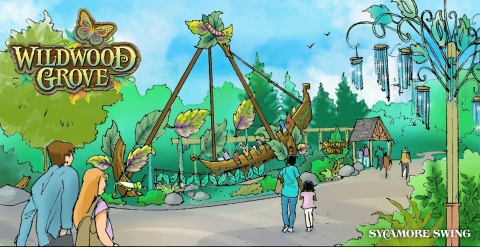 """Guests to Dollywood's new Wildwood Grove board this thrilling """"leaf boat"""" and swing back and forth just like a falling leaf. (Graphic: Business Wire)"""