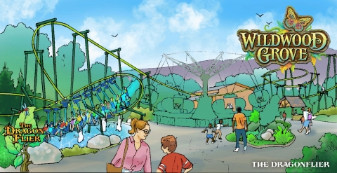 This thrilling suspended roller coaster lets guests soar with a dragonfly as it dips and darts along the gushing geysers and lush landscape of Dollywood's new Wildwood Grove. (Graphic: Business Wire)