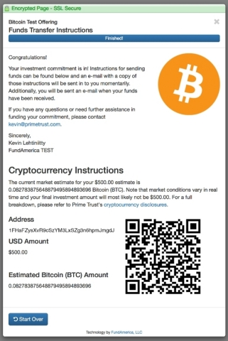 Prime Trust's systems present BTC/ETH delivery instructions, including a unique wallet address and QR code for a specific transaction (Graphic: Business Wire)
