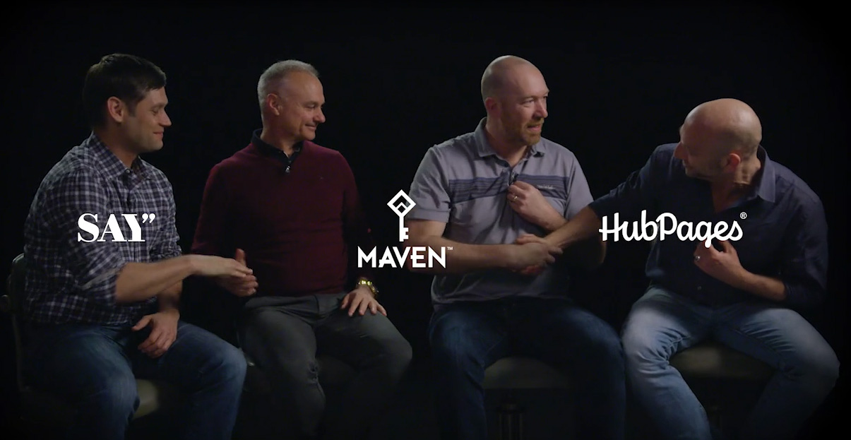 From left to right, Say Media CEO Matt Sanchez, Maven CEO James Heckman, HubPages CEO Paul Edmondson, and Maven President Josh Jacobs describe the impact of their 3-way merger.
