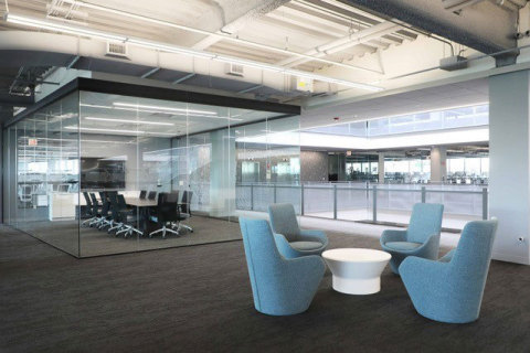 The new office features elements our employees told us were important to them including highly collaborative open work spaces and conference rooms, sit-stand desks and a large cafeteria and café onsite. (Photo: Skender)