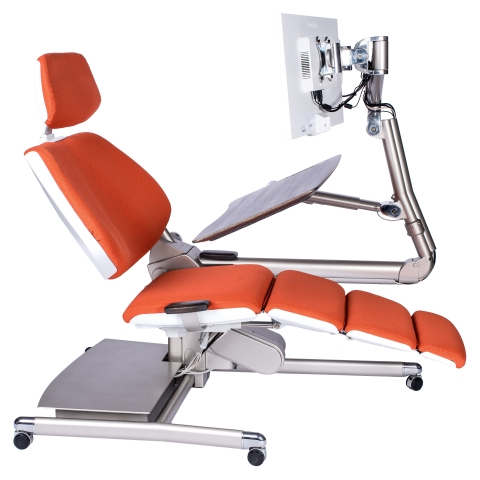 The breakthrough design of the Altwork Station offers four key working positions — stand, sit, recline and zero gravity — to help accommodate employees experiencing pain or recovering from a health condition. (Photo: Business Wire)