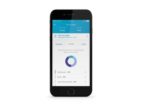 DriveWealth/Bambu's App interface – Financial goals and portfolio recommendations (Photo: Business Wire)