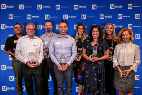 Mouser Electronics awards its 2018 Best-in-Class recipients. Pictured from left to right are Sumit Awasthi, Rick Rejnert, James Chandler, Geoff Hamilton, Catherine Côté, Tina Casteneda, Tammy Stine, and Renée Dill. (Photo: Business Wire)