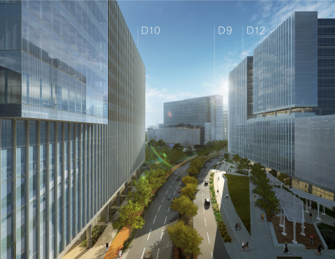 Rendering of Domain 10, Domain 9, and Domain 12 (from left to right) at The Domain in Austin, Texas  ...