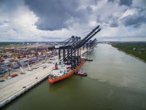 Port Houston's newest ship-to-shore cranes stand nearly 30 stories tall with a boom length of 211 ft ...