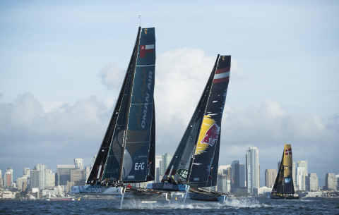 A fleet of elite-level international sailing teams, including one USA squad, will be racing in identical flying hydrofoil catamarans: GC32 (Photo: Lloyd Images)