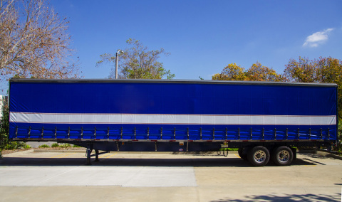 The Kin-Sider™ from Kinedyne® curtain installed on Utility's Tautliner curtainsided trailer. (Photo: ...