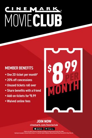 Movie Club is accepted at all Cinemark locations across the nation, including Century Theatres, CinéArts, Tinseltown and Rave Cinemas. To join, visit www.cinemark.com/movieclub or download the Cinemark app. (Graphic: Business Wire)