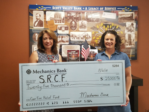 Janet Pyle, Mechanics Bank's Redding Branch Manager presents a $25,000 check to Kerry Caranci, CEO,  ...